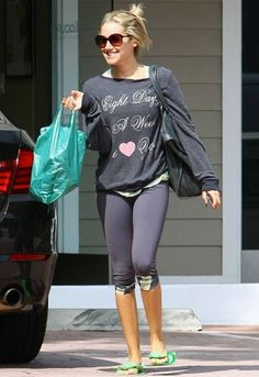 """""""8 days a week I love you"""" over-sized top on Ashley Tisdale."""