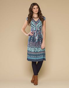 Lydia Border Print Dress | Multi | Monsoon