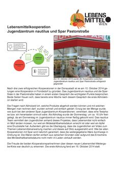 Gründung der Lebensmittelkooperation:   Jugendzentrum nautilus und Spar Pastorstraße am 10. Oktober 2014 Nautilus, October, Young Adults, Projects, Life