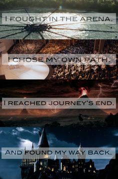 "Hunger Games - Divergent - Lord of the Rings - Harry Potter - ""Hogwarts will always be there to welcome you home."" --> Made my day."