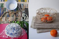 string-bowl, created over a shape protected by plastic.  Use glue to soak the cords