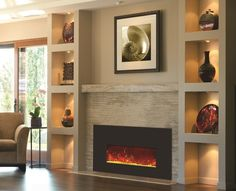 interior: Ravishing Bright Wall Shelving With Incredible Tile Lighting Ideas And Fabulous Electric Fireplace Design, Electric Fireplace: Modern, Elegant and Looks Excellent, Homestoreky: Home Interior Design and Decorating Ideas Built In Electric Fireplace, Fireplace Built Ins, Home Fireplace, Fireplace Remodel, Fireplace Inserts, Fireplace Surrounds, Fireplace Design, Fireplace Ideas, Gas Fireplaces