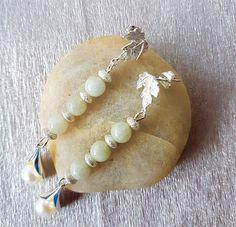 Burmese Jadeite earring Silver leaf jadeite earrings Jade