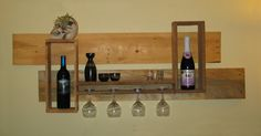 Wine Rack made from used pallets.     #GlassHolder, #Kitchen, #PalletWineRack, #Upcycled