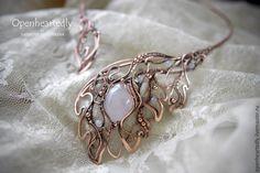 """Купить Колье """"Моя нежность"""" - бледно-розовый, нежно-розовый, изящество, изящное украшение, свадьба"""