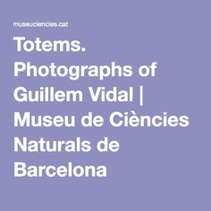 Totems. Photographs of Guillem Vidal | Museu de Ciències Naturals de Barcelona