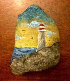 Lighthouse #paintedrocks #stoneart #spiritinstones #rockpainting #lighthousepainting #art