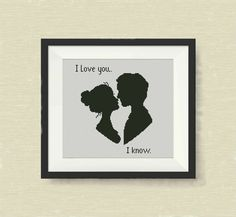 Love You I Know, Star Wars - cross stitch pattern.  SIZE: Dimensions (14-count…