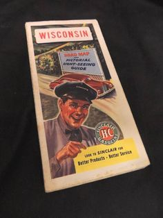 VTG 1950's Sinclair Gasoline Road Map Wisconsin HC Pictorial Sight-Seeing WI