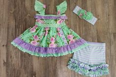 Serendipity Clothing Lavender Fields Flutter Tunic & icing shortie set (style 1854)