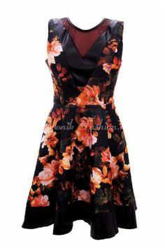 Rochie primavara 2014 cu imprimeu floral si insertii de piele Spring Flowers, Peplum, My Style, Floral, Casual, Tops, Dresses, Women, Fashion