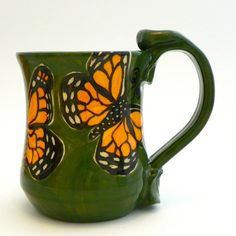 Hey, I found this really awesome Etsy listing at https://www.etsy.com/ca/listing/78916659/butterflies-mug-monarchs-on-green