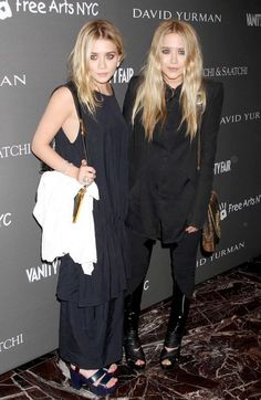 Olsens Anonymous Blog Mary Kate Ashley Olsen Twins Best All Black Looks Sleeveless Maxi Dress Platforms Button Down Shirt Leather Pants Sandals