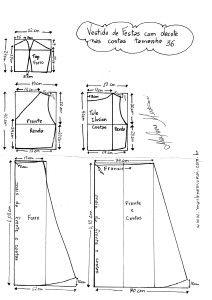 Esquema de modelagem do Vestido com Decote nas costas tamanho 36.