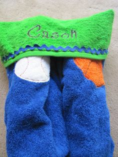 Play Ball Personalized Fullsized Hooded Bath by NandTEmbroidery, $25.00