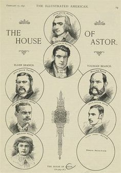 """Cameo images of: """"The House Of Astor"""". Print apearing in, """"The Illustrated American"""", during America's Gilded Age, February 21st c.1891. ~ {cwlyons}"""