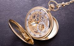 Rapport Double Half Hunter Pocket Watch Manual Wind // The Double Half Hunter Pocket Watch features windows on both the front and back cases, showing off the skeletonized dial and the mesmerizing balance wheel. Neo Victorian, Popular Mens Fashion, Must Have Items, Gadgets And Gizmos, Groom Style, Gold Watch, Style Guides, Women's Accessories, Cool Stuff