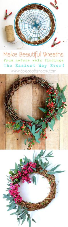 Make beautiful wreaths easily from foraged materials using a simple hack! See how to make a Honeysuckle or Grapevine wreath, plus gorgeous variations. - A Piece Of Rainbow by fay Diy Wreath, Grapevine Wreath, Burlap Wreaths, Wreath Ideas, Door Wreaths, Christmas Crafts, Christmas Decorations, Valentine Wreath, Diy Valentine