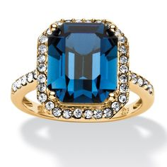 Emerald-Cut Dark Indigo Crystal Ring Made with SWAROVSKI ELEMENTS in 14k Gold over Sterling Silver on PalmBeach Jewelry