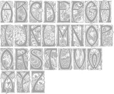 Type design pages for Jose Jimenez. Type design information compiled and maintained by Luc Devroye. Art Nouveau Pattern, Art Nouveau Design, Design Art, Illuminated Letters, Illuminated Manuscript, Corporate Design, Jugendstil Design, Stencils, Arts And Crafts Movement