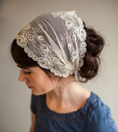 Victorian Lace in Vanilla Cream Garlands of Grace Birdal Specialty Lace headwrap headcovering veil headband