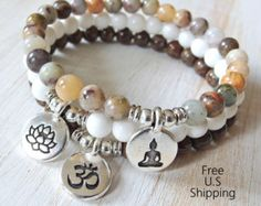 Items similar to Set of 3 Yoga bracelet, Sugilite, Amazonite Rose Quartz Yoga set of 3 mala bracelets, Pave bracelets, Reiki Charged, Love set. Yoga set on Etsy
