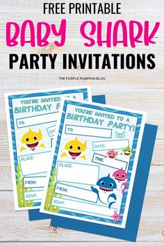 If you are looking for Free Baby Shark Party Printables then you have hit the jackpot! I've got a huge set of Baby Shark printables that has everything you need to throw an awesome themed party including invitations, party decorations, cupcake toppers, and more! Party Printables, Free Printables, Purple Pumpkin, Shark Party, Get The Party Started, Baby Shark, Free Baby Stuff, Halloween Kids, Birthday Invitations