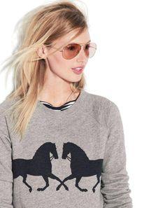 grey horse sweater