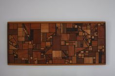 Vintage Mid Century Modern Wood Wall Art Hanging Geometric 1960s
