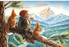 RARE Dwarf gnome smokes pipe with squirrels Ema Malyauka Russian modern postcard   eBay