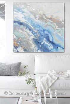 "Fine Art Modern Blue White Abstract Painting ""Found Solace"" Marbled Blue Grey Gold Leaf Coastal Decor Wall Art Giclee Print / Canvas Print of Fine Art Blue Abstract Painting in shades of ocean blue, sea foam green, white, grey, light blue, navy blue, beige, taupe, w/ gold leaf accents. Coastal Home decor modern beach wall art. By Contemporary Artist Christine Krainock"
