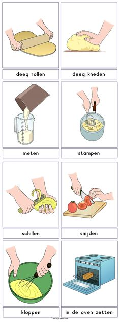 Woordkaarten : KOKEN (1) Education Logo, Kids Education, Dutch Phrases, Learn Dutch, Sequencing Cards, Dutch Language, Creative Curriculum, Pizza Restaurant, Montessori Materials