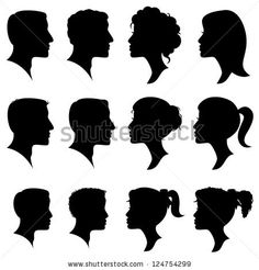 Vector Set of Female and Male Adult and Child Cameo Silhouettes by PinkPueblo, via ShutterStock