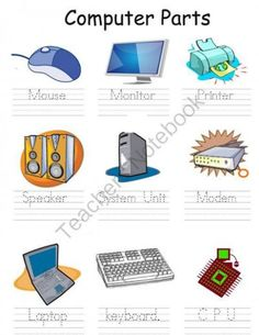 Parts of a computer for kids clipart