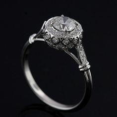 Design Diamond Pave Set Vintage Style by OroSpot. I like the detail on the setting!