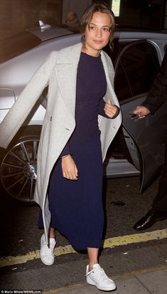 Effortless: Alicia Vikander enjoyed some down-time from the glitz and glamour of dressing up as she arrived at the BBC studios on Friday to talk about new flick Light Between Oceans