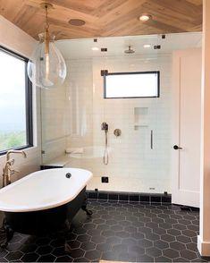 Bad Inspiration, Bathroom Inspiration, Beautiful Bathrooms, Modern Bathroom, Master Bathrooms, Bathroom Mirrors, Bathroom Cabinets, Dream Bathrooms, Hexagon Tile Bathroom