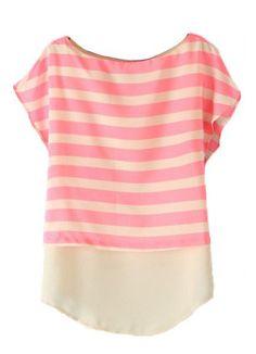 #Pink #Striped #Chiffon #Blouse <3