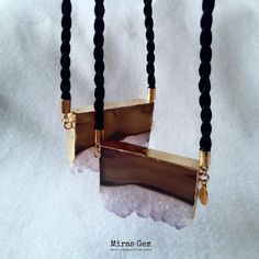 Slice amethyst rope necklace by Miras Gem