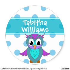 Cute Owl Children's Personalized Classic Round Sticker - An attractive way to label your child's personal items for school, day care, camp, church or other needs, this sticker features blue polka dots and a colorful owl. Personalize with your child's name. Sold at DancingPelican on Zazzle.