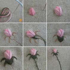 Rose bud - step by step how-to stitch