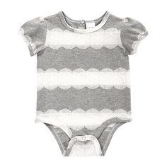 Joe Fresh Baby Girls' Knit Lace Bodysuit | #kidstylin