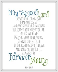 Rod Stewart Forever Young 8x10 Lyric art print by gbloomstudio, $15.00