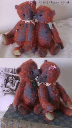 Daphne and Darcy, One Of A Kind Mohair Artist Bears by Marianne Cornish