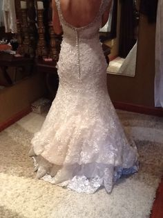 French bustle with lining bustled seperately, on mermaid style wedding gown