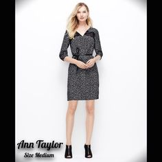 ANN TAYLOR CONFETTI LONGSLEEVE BLACK WHITE DRESS M Gorgeous NEW WITH TAGS! Ann Taylor long three quarter sleeve confetti print black and white long sleeve knee length dress! SIZE MEDIUM. Sold out everywhere, this dress is sure to be a hit for your next event! (belt is NOT included!) pair with a belt and black boots for a more casual look, or a pair of nude heels to formal this dress upBUNDLE LISTINGS & SAVE 20%!  I FOLLOW POSH RULES! PLEASE  TRADES AND  NO OUTSIDE TRANSACTIONS DO NOT ASK…