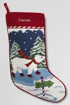 Needlepoint Christmas Stocking from Lands' End- need to order one for Emmy