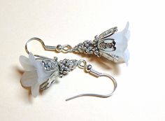 Jewelry Earrings Snow White Lucite Trumpet by SpiritCatDesigns, $6.00