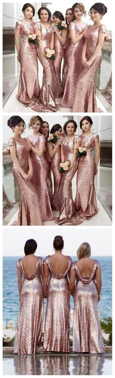 Sequin Short Sleeve Sexy Mermaid Rose Gold Pretty Cheap Long Wedding Party Bridesmaid Dresses, 17501