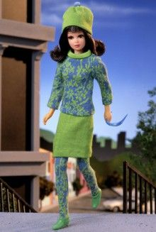 Vintage Barbie Doll Reproductions Barbie Collector Ltd Edition. Release Date:1/1/1996 Product Code:14608. She's mod & she's cool. Barbie's MOD cousin Francie™. Set includes a repro of the original 1966 doll in her pink, green & white swimsuit, along w/one of her most popular all time outfits: Gad-About™. You'll love her green skirt & cap & contrasting knit sweater & stockings & mod go-go glasses. Miniature eyelash brush included.